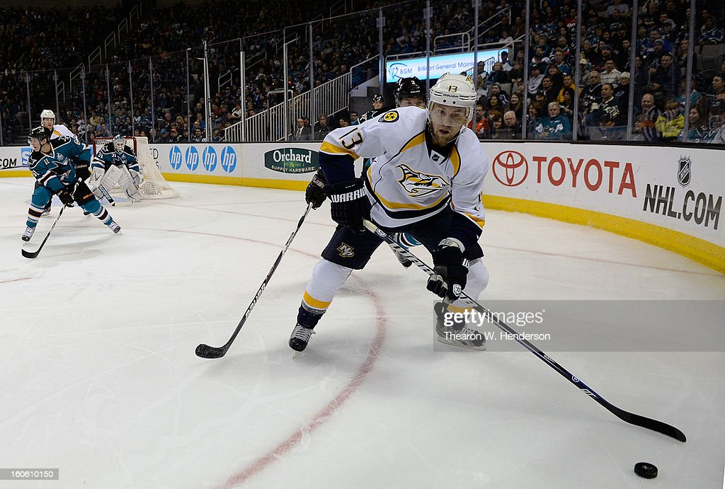 Nick Spaling #13 of the Nashville Predators skates with control of the puck against the San Jose Sharks at HP Pavilion on February 2, 2013 in San Jose, California.