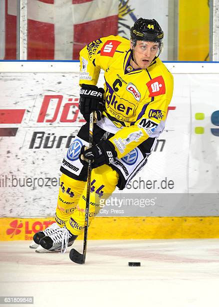 Nick St Pierre of Krefeld Pinguine handles the puck during the action shot on September 3 2016 in Krefeld Germany
