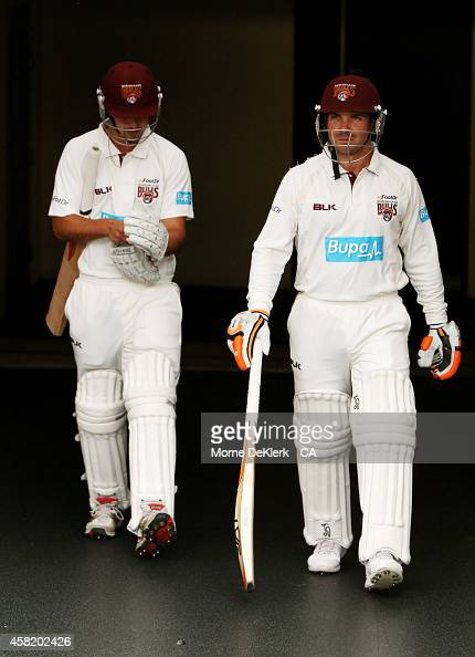 Nick Stevens and Chris Hartley of the Bulls come out to bat before the start of play during day two of the Sheffield Shield match between South...