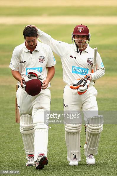 Nick Stevens of the Bulls is congratulated by Chris Hartley of the Bulls atmosphere the end of the days play during day one of the Sheffield Shield...