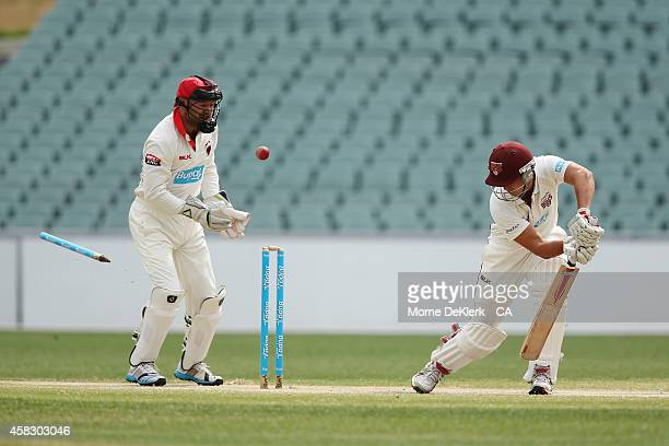Nick Stevens of the Bulls looks back after he was clean bowled by Chadd Sayers of the Redbacks during day four of the Sheffield Shield match between...