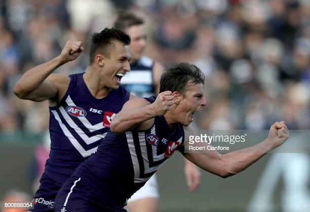 Nick Suban of the Dockers celebrates after scoring a goal during the round 14 AFL match between the Geelong Cats and the Fremantle Dockers at Simonds...