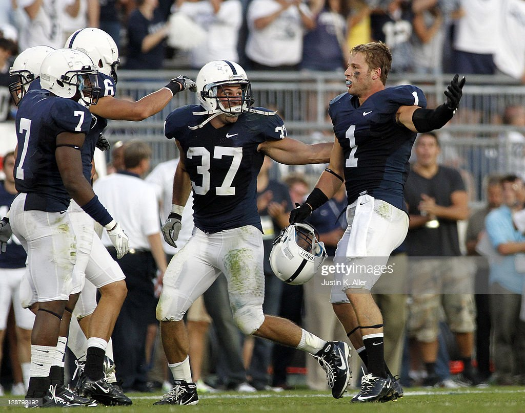 Nick Sukay #1 of the Penn State Nittany Lions celebrates after intercepting a pass in the forth quarter against the Iowa Hawkeyes during the game on October 8, 2011 at Beaver Stadium in State College, Pennsylvania. The Nittany Lions defeated the Hawkeyes 13-3.