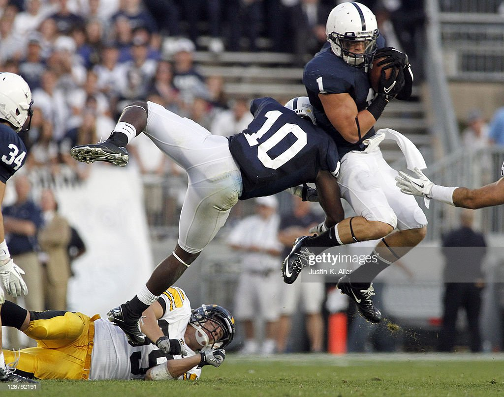 Nick Sukay #1 of the Penn State Nittany Lions intercepts a pass in the forth quarter against the Iowa Hawkeyes during the game on October 8, 2011 at Beaver Stadium in State College, Pennsylvania. The Nittany Lions defeated the Hawkeyes 13-3.