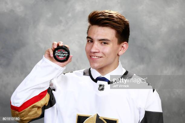 Nick Suzuki 13th overall pick of the Vegas Golden Knights poses for a portrait during Round One of the 2017 NHL Draft at United Center on June 23...