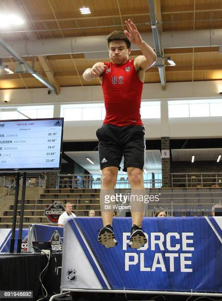 Nick Suzuki jumps for the Force Plate test during the NHL Combine at HarborCenter on June 3 2017 in Buffalo New York