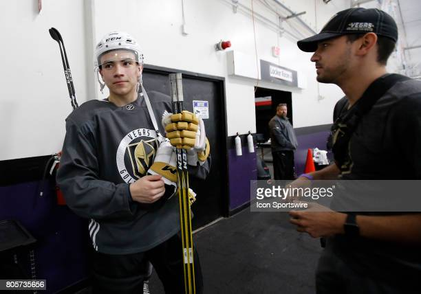 Nick Suzuki looks on at the conclusion of the Vegas Golden Knights Development Camp at the Las Vegas Ice Center on July 01 2017 in Las Vegas Nevada
