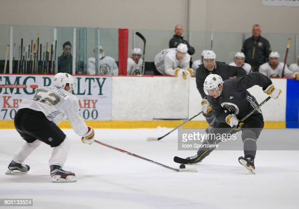Nick Suzuki moves the puck during the Vegas Golden Knights Development Camp at the Las Vegas Ice Center on June 30 2017 in Las Vegas Nevada