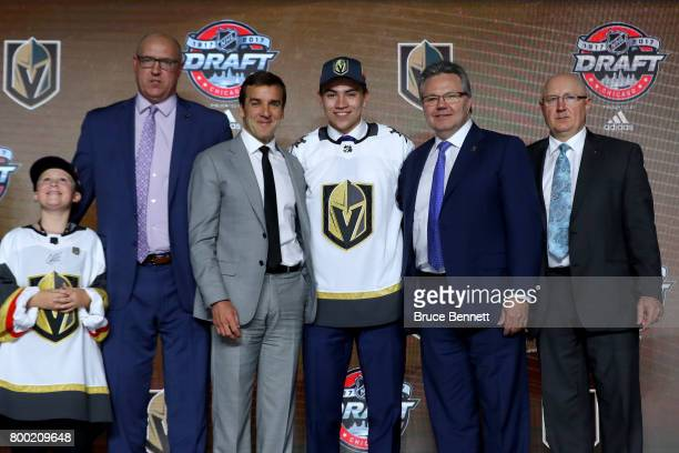 Nick Suzuki poses for photos after being selected 13th overall by the Vegas Golden Knights during the 2017 NHL Draft at the United Center on June 23...
