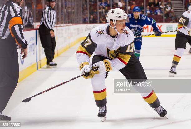 Nick Suzukiof the Las Vegas Golden Knights skates after the puck against the Vancouver Canucks in NHL preseason action on September 17 2017 at...