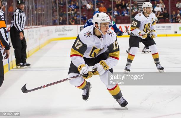 Nick Suzukiof the Las Vegas Golden Knights skates against the Vancouver Canucks in NHL preseason action on September 17 2017 at Rogers Arena in...