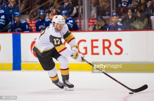 Nick Suzukiof the Las Vegas Golden Knights skates with the puck against the Vancouver Canucks in NHL preseason action on September 17 2017 at Rogers...