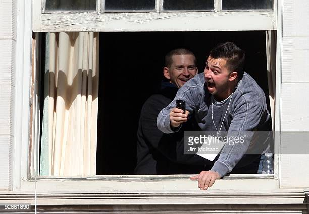 Nick Swisher and AJ Burnett of the New York Yankees have a laugh before the New York Yankees World Series Victory Celebration at City Hall on...