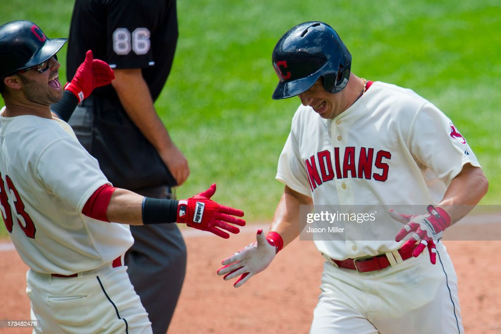 <a gi-track='captionPersonalityLinkClicked' href=/galleries/search?phrase=Nick+Swisher&family=editorial&specificpeople=206417 ng-click='$event.stopPropagation()'>Nick Swisher</a> #33 celebrates with <a gi-track='captionPersonalityLinkClicked' href=/galleries/search?phrase=Asdrubal+Cabrera&family=editorial&specificpeople=834042 ng-click='$event.stopPropagation()'>Asdrubal Cabrera</a> #13 of the Cleveland Indians after Cabrera scored during the sixth inning against the Kansas City Royals at Progressive Field on July 14, 2013 in Cleveland, Ohio. The Indians defeated the Royals 6-4.