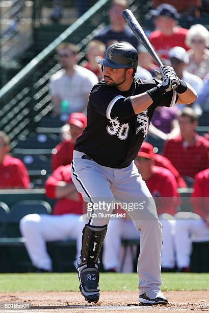 Nick Swisher of the Chicago White Sox bats during a Spring Training game against the Los Angeles Angels of Anaheim at Tempe Diablo Stadium on March 6...