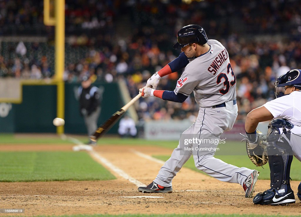 Nick Swisher #33 of the Cleveland Indians bats during the game against the Detroit Tigers at Comerica Park on May 11, 2013 in Detroit, Michigan. The Indians defeated the Tigers 7-6.