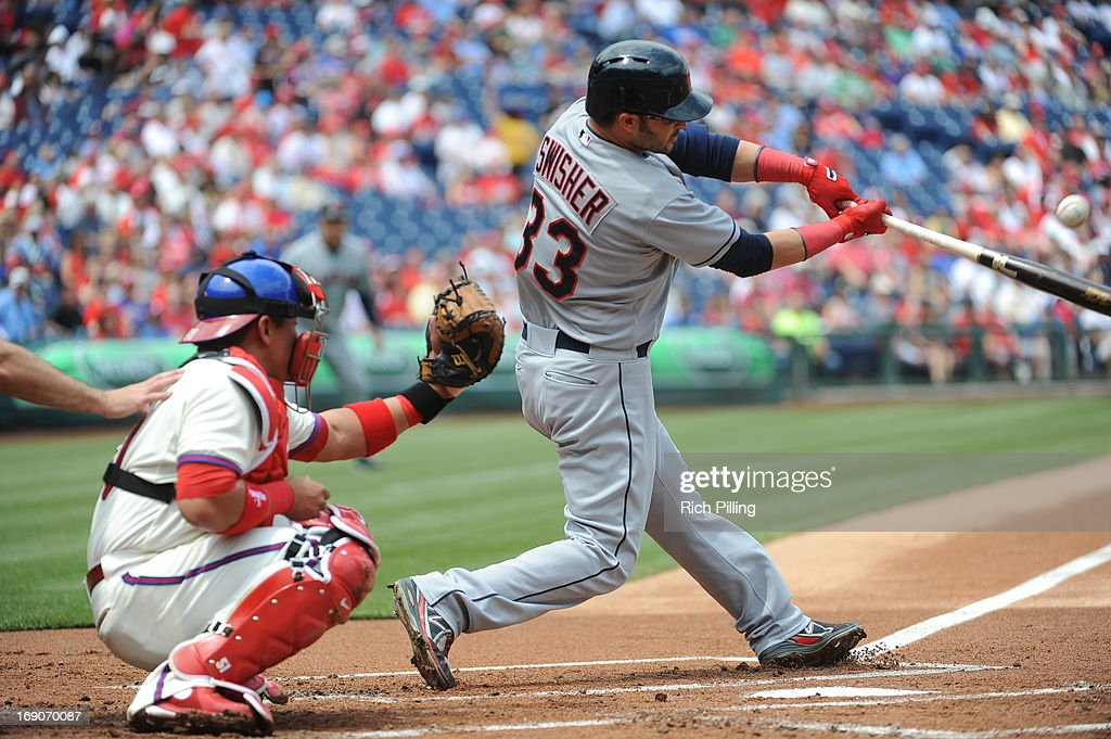 Nick Swisher #33 of the Cleveland Indians bats during the game against the Philadelphia Phillies on May 15, 2013 at Citizens Bank Park in Philadelphia, Pennsylvania. The Indians defeated the Phillies 10-4.