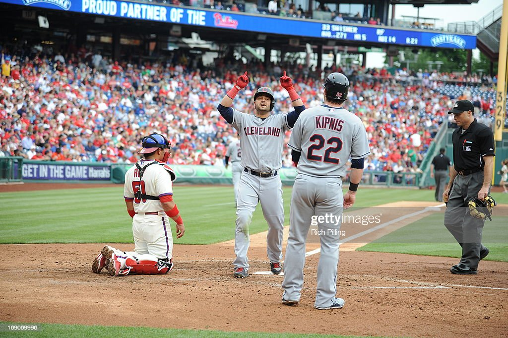 Nick Swisher #33 of the Cleveland Indians celebrates after hitting a home run during the game against the Philadelphia Phillies on May 15, 2013 at Citizens Bank Park in Philadelphia, Pennsylvania. The Indians defeated the Phillies 10-4.