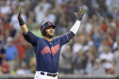Nick Swisher of the Cleveland Indians celebrates after hitting a two run home run during the sixth inning against the New York Yankees at Progressive...