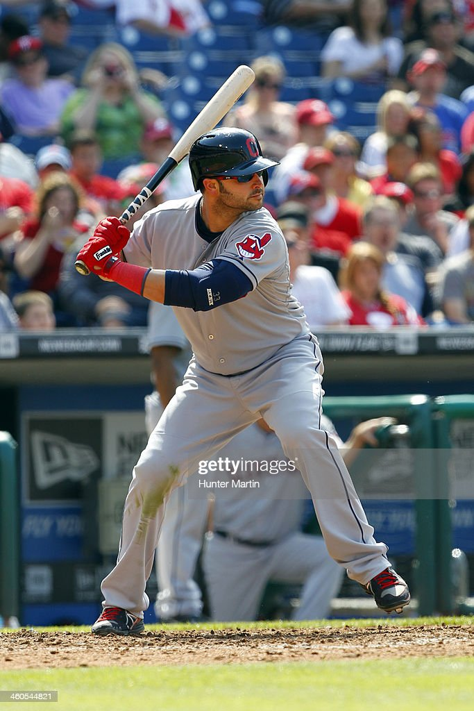 <a gi-track='captionPersonalityLinkClicked' href=/galleries/search?phrase=Nick+Swisher&family=editorial&specificpeople=206417 ng-click='$event.stopPropagation()'>Nick Swisher</a> #33 of the Cleveland Indians during a game against the Philadelphia Phillies at Citizens Bank Park on May 15, 2013 in Philadelphia, Pennsylvania. The Indians won 10-4.