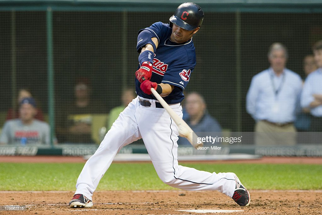 <a gi-track='captionPersonalityLinkClicked' href=/galleries/search?phrase=Nick+Swisher&family=editorial&specificpeople=206417 ng-click='$event.stopPropagation()'>Nick Swisher</a> #33 of the Cleveland Indians hits a double during the fifth inning against the Chicago White Sox at Progressive Field on July 30, 2013 in Cleveland, Ohio.