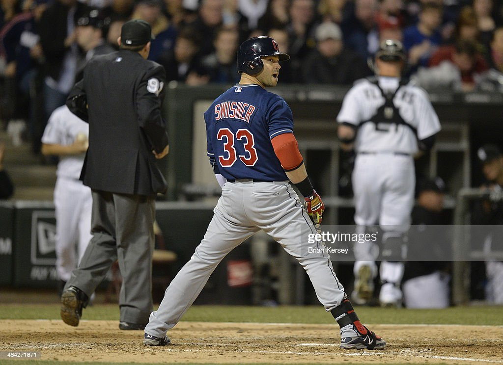 <a gi-track='captionPersonalityLinkClicked' href=/galleries/search?phrase=Nick+Swisher&family=editorial&specificpeople=206417 ng-click='$event.stopPropagation()'>Nick Swisher</a> #33 of the Cleveland Indians reacts after striking out during the sixth inning against the Chicago White Sox at U.S. Cellular Field on April 11, 2014 in Chicago, Illinois.