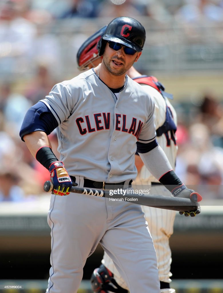 <a gi-track='captionPersonalityLinkClicked' href=/galleries/search?phrase=Nick+Swisher&family=editorial&specificpeople=206417 ng-click='$event.stopPropagation()'>Nick Swisher</a> #33 of the Cleveland Indians reacts to striking out against the Minnesota Twins during the seventh inning of the game on July 23, 2014 at Target Field in Minneapolis, Minnesota. The Twins defeated the Indians 3-1.