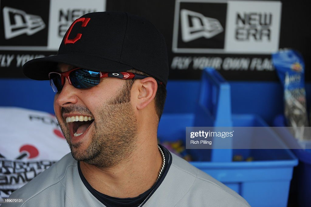 Nick Swisher #33 of the Cleveland Indians sits in the dugout prior to the game between the Philadelphia Phillies and the Cleveland Indians on May 15, 2013 at Citizens Bank Park in Philadelphia, Pennsylvania. The Indians defeated the Phillies 10-4.