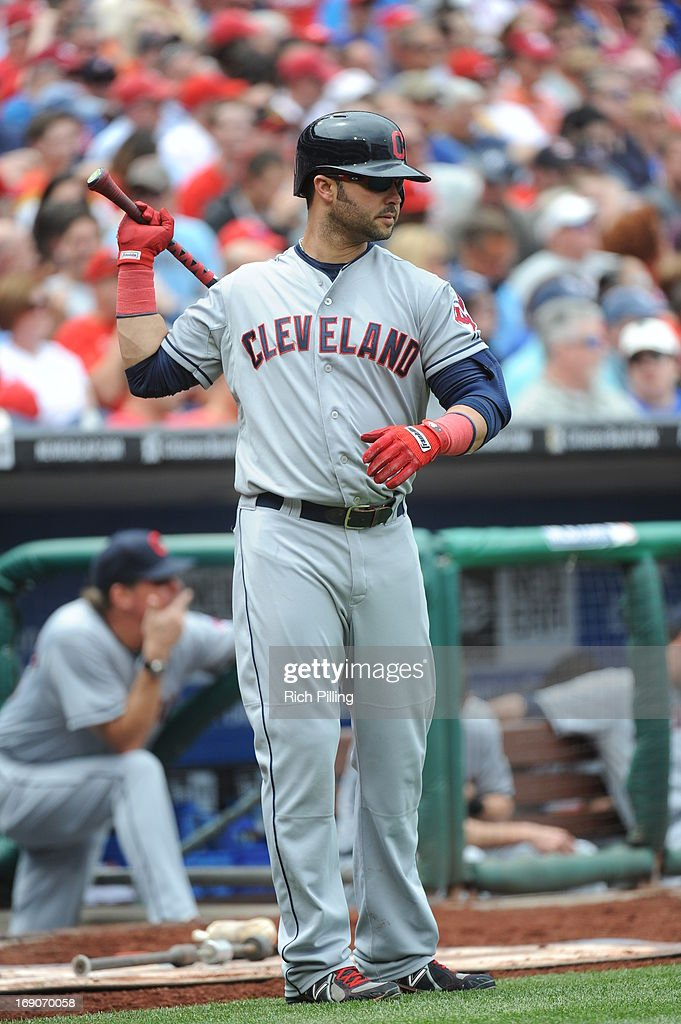 Nick Swisher #33 of the Cleveland Indians stands in the on deck circle during the game against the Philadelphia Phillies on May 15, 2013 at Citizens Bank Park in Philadelphia, Pennsylvania. The Indians defeated the Phillies 10-4.