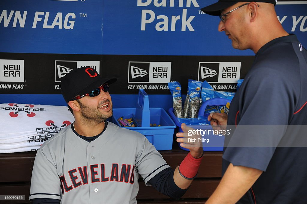 Nick Swisher #33 of the Cleveland Indians talks to manager Terry Francona prior to the game between the Philadelphia Phillies and the Cleveland Indians on May 15, 2013 at Citizens Bank Park in Philadelphia, Pennsylvania. The Indians defeated the Phillies 10-4.