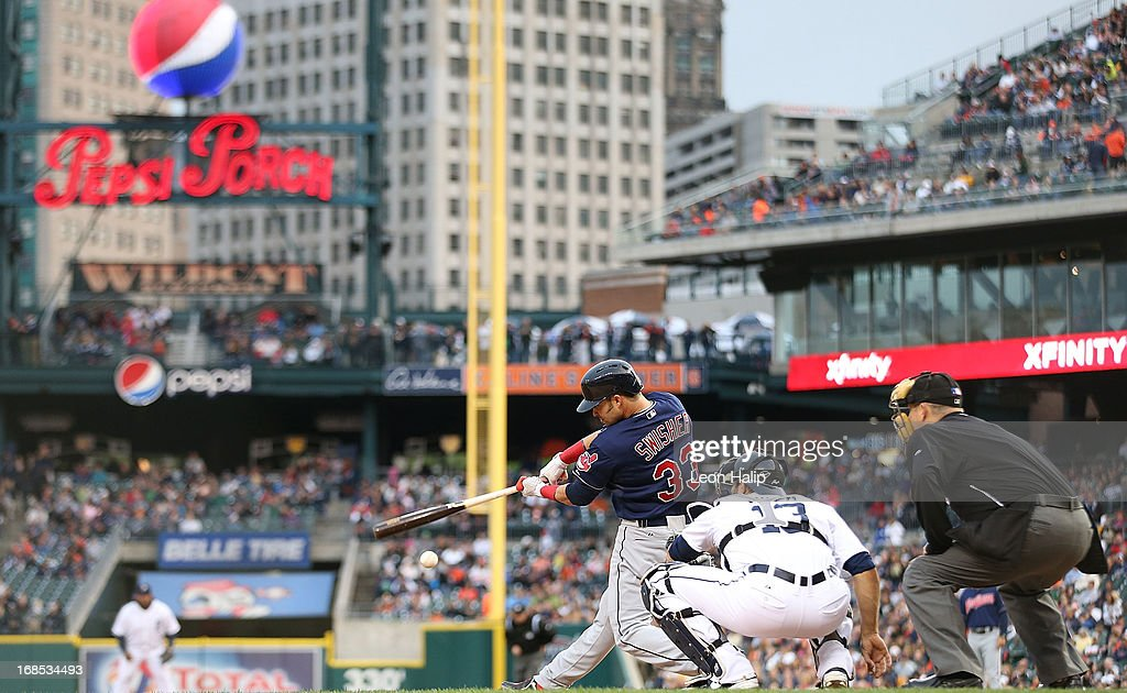 <a gi-track='captionPersonalityLinkClicked' href=/galleries/search?phrase=Nick+Swisher&family=editorial&specificpeople=206417 ng-click='$event.stopPropagation()'>Nick Swisher</a> #33 of the Cleveland Indians triples to right field in the fourth inning of the game against the Detroit Tigers at Comerica Park on May 10, 2013 in Detroit, Michigan. The Tigers defeated the Indians 10-4.