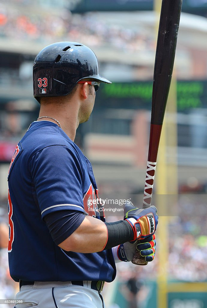 Nick Swisher #33 of the Cleveland Indians waits on-deck to bat while wearing Frankiln batting gloves during the game against the Detroit Tigers at Comerica Park on July 20, 2014 in Detroit, Michigan. The Tigers defeated the Indians 5-1.