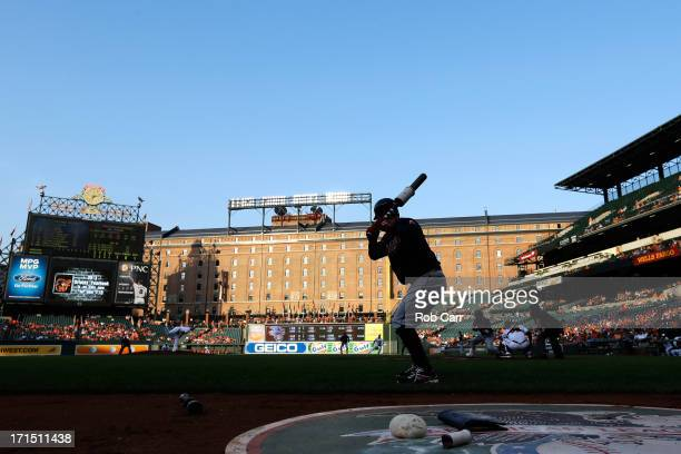 Nick Swisher of the Cleveland Indians waits to bat against the Baltimore Orioles in the first inning at Oriole Park at Camden Yards on June 25 2013...