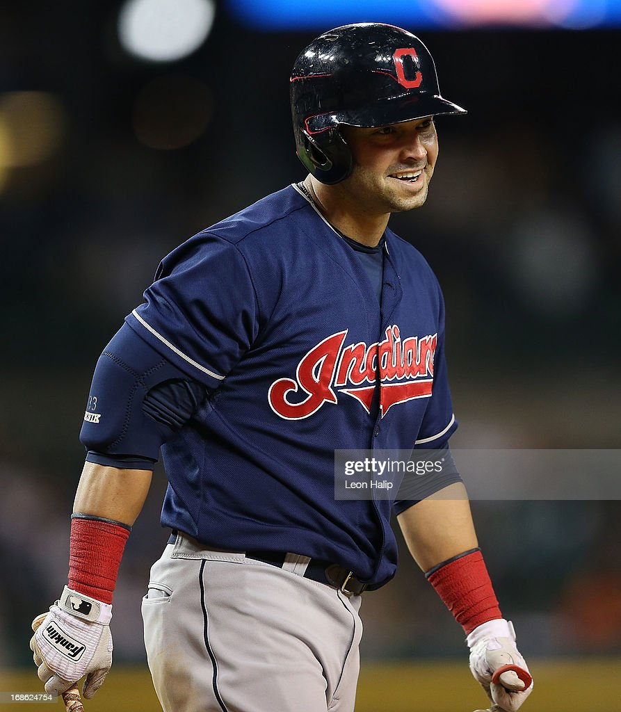 Nick Swisher #33 of the Cleveland Indians walks back to the dugout after striking out in the ninth inning of the game against the Detroit Tigers at Comerica Park on May 10, 2013 in Detroit, Michigan.