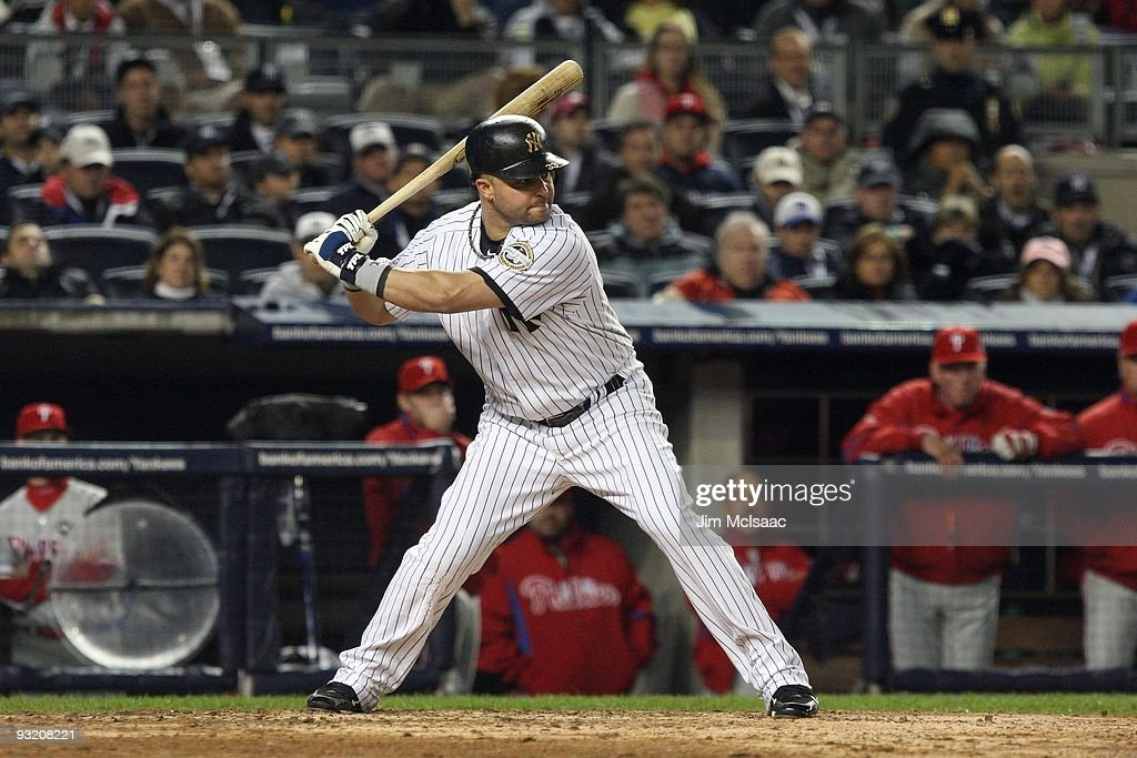 Nick Swisher of the New York Yankees bats against the Philadelphia Phillies in Game One of the 2009 MLB World Series at Yankee Stadium on October 28...