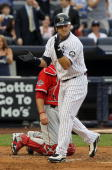 Nick Swisher of the New York Yankees celebrates his first inning home run against the Los Angeles Angels of Anaheim on July 20 2010 at Yankee Stadium...