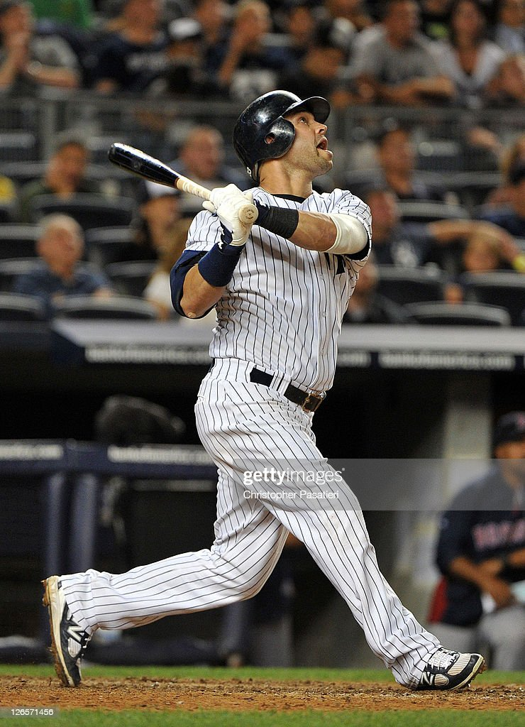 <a gi-track='captionPersonalityLinkClicked' href=/galleries/search?phrase=Nick+Swisher&family=editorial&specificpeople=206417 ng-click='$event.stopPropagation()'>Nick Swisher</a> #33 of the New York Yankees flies out to left in the bottom of the 11th inning against the Boston Red Sox on September 25, 2011 at Yankee Stadium in the Bronx borough of New York City.