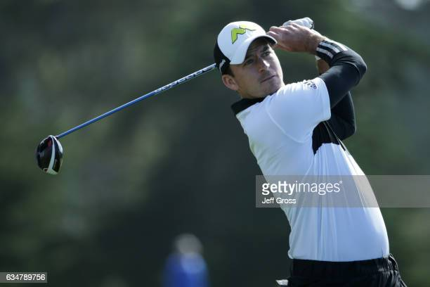 Nick Taylor hits his tee shot on the sixth hole during Round Three of the ATT Pebble Beach ProAm at Monterey Peninsula Country Club on February 11...