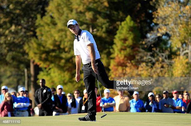 Nick Taylor of Canada misses his birdie putt on the 16th hole during the Final Round of the Sanderson Farms Championship at The Country Club of...
