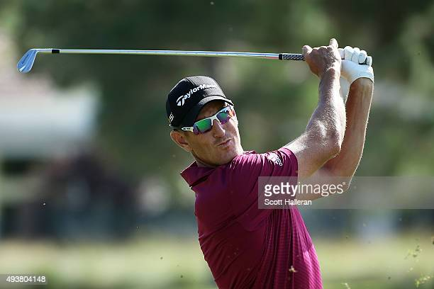 Nick Taylor of Canada plays a shot on the ninth hole during the first round of the Shriners Hospitals For Children Open on October 22 2015 at TPC...