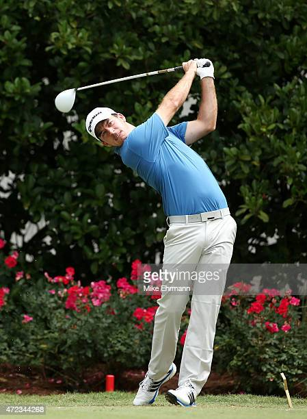 Nick Taylor of Canada plays his shot from the 11th tee during a practice round for THE PLAYERS Championship at the TPC Sawgrass Stadium course on May...