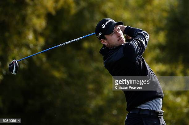 Nick Taylor of Canada tees off on the fifth hole during the first round of the Waste Management Phoenix Open at TPC Scottsdale on February 4 2016 in...