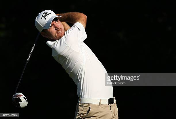 Nick Taylor watches his drive on the third hole during the second round of the Quicken Loans National at the Robert Trent Jones Golf Club on July 31...