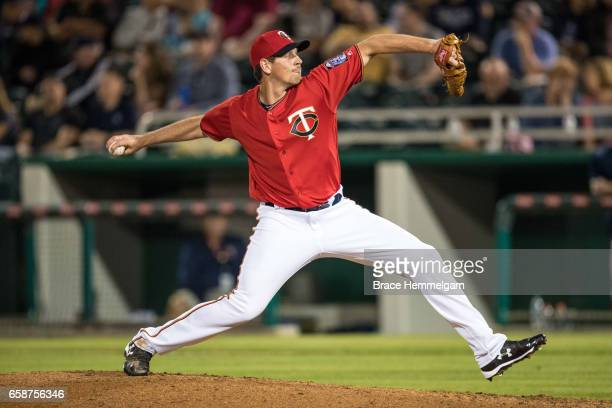 Nick Tepesch of the Minnesota Twins pitches against the Tampa Bay Rays on February 24 2017 at the CenturyLink Sports Complex in Fort Myers Florida