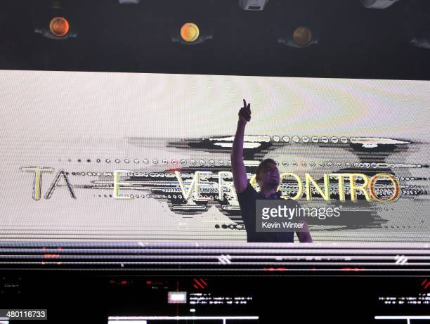 Nick van de Wall aka Afrojack performs onstage during 971 AMP RADIO's Amplify 2014 concert at the Hollywood Palladium on March 22 2014 in Hollywood...