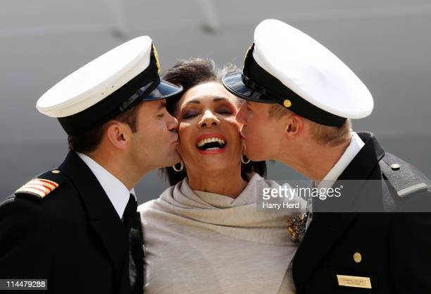 Nick Van Der Merwe Dame Shirley Bassey and Graham Norther name 'Adonia' the latest ship by PO Cruises at Port of Southampton on May 21 2011 in...