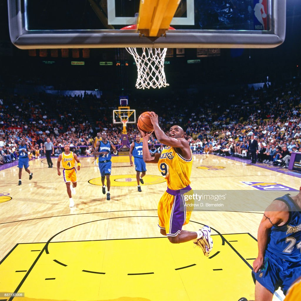 7f1355e28 ... Nick Van Exel 9 of the Los Angeles Lakers shoots against the Minnesota  Timberwolves on ...