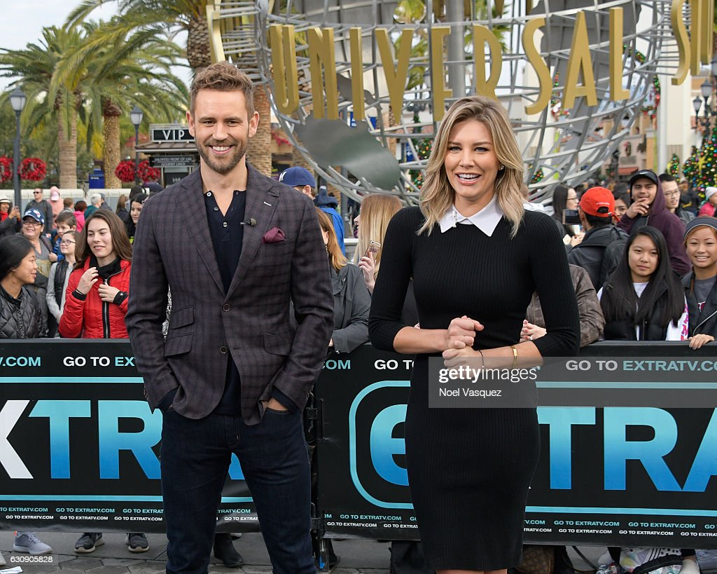 Nick Viall (L) and Charissa Thompson visit 'Extra' at Universal Studios Hollywood on January 3, 2017 in Universal City, California.