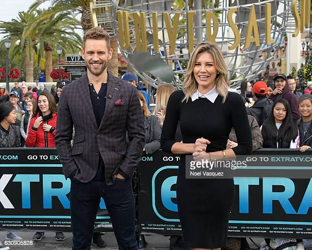 Nick Viall and Charissa Thompson visit 'Extra' at Universal Studios Hollywood on January 3 2017 in Universal City California