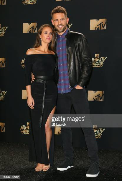 Nick Viall and Vanessa Grimaldi attend the 2017 MTV Movie and TV Awards at The Shrine Auditorium on May 7 2017 in Los Angeles California